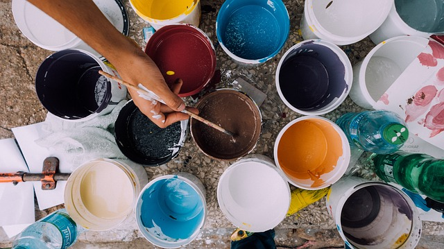 different coloured paint pots for home extensions and renovations