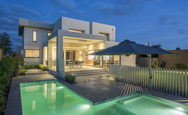 custom home design with outdoor pool